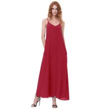 Kate Kasin Sexy Womens Sommer Casual Lose Spaghetti Riemen V-Ausschnitt Rot Maxi Kleid KK000700-2