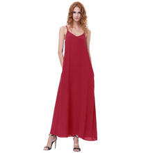 Kate Kasin Sexy Womens Summer Casual Loose Spaghetti Straps V-Neck Red Maxi Dress KK000700-2