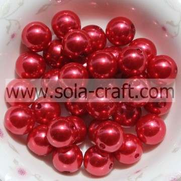 Plastic Decoration Pearls Round 6MM Red Beads Mother Of Pearl Flower Beads
