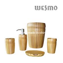 Ensemble d'accessoires de salle de bains en caoutchouc pour bois (WBW0453A)