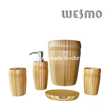 Rubber Wood Bathroom Accessory Set (WBW0453A)