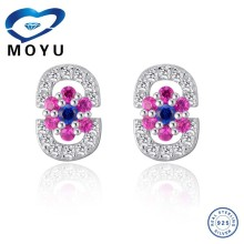 925 sterling silver 3 colors cz stones korean style earrings