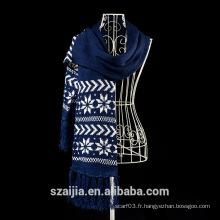 Mode hiver gardez l'écharpe jacquard double carré chaude