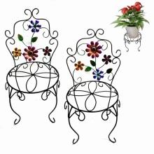 Handgefertigte Metall Stuhl Blumentopf Stand Craft mit Blumen Garten Dekoration