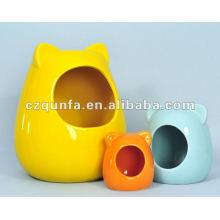 Alimentador de cerâmica animal personalizado da bacia dos animais de estimação da casa do animal de estimação do hamster