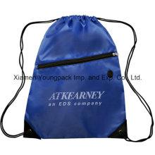 Azul promocional impermeável 210d saco de nylon saco de ginástica tira saco