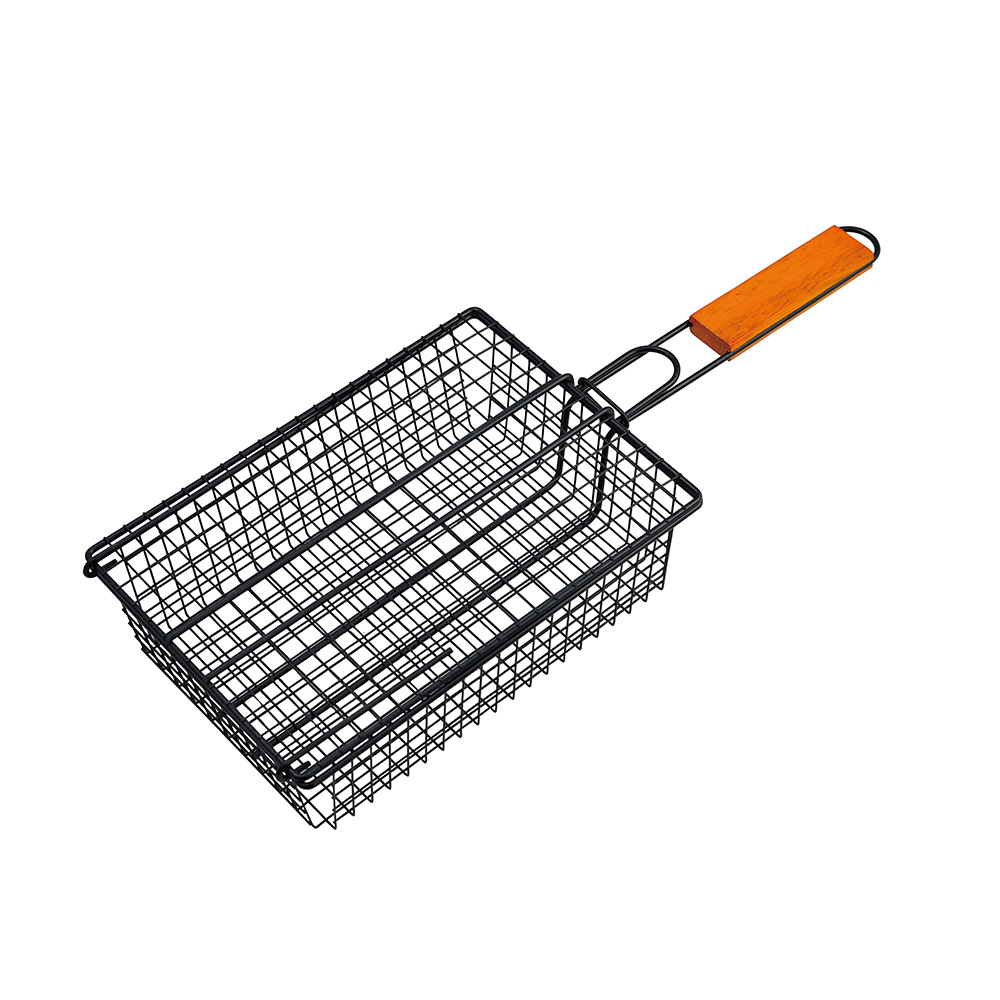 Wooden handle barbecue basket