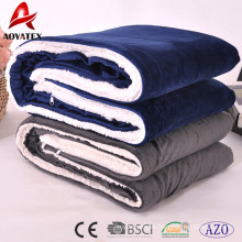 cheap polyester super soft promotion micromink sherpa blanket with zipper