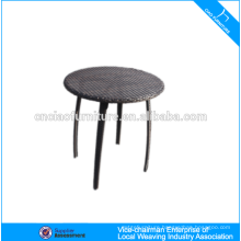 Garden round Rehau rattan pedestal dining table with glass top