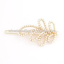 Nova chegada populares quente mulheres elegantes e meninas ouro chapeamento pérola folha hairpin