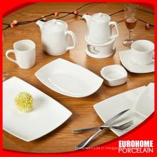 20pcs gros blanc de forme carrée en céramique hôtel porcelaine personnalisée assiettes pour restaurant