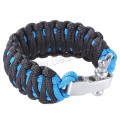 Pulsera de supervivencia ajustable paracord grillete de acero inoxidable tornillo clavo grillete