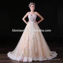 Apliques de encaje personalizado una línea de cola larga vestido de noche coreano para el banquete de boda
