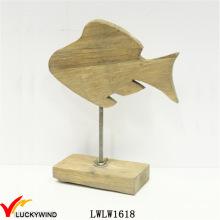 Деревянная шикарная рыба для домашнего декора