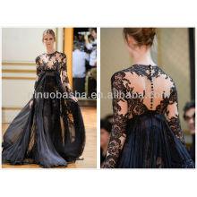 Приветствуется черный с длинным рукавом платье официальное вечернее платье платье сексуальная sheer кружева 2014 носит NB025