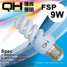 T2/T3 CE Arroved 8000hrs 9W Full Spiral Energy Saving Lamp/Spiral Lamp/CFL 220V/127V