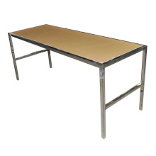 Mesa de jantar de aço inoxidável com tampo de acrílico