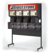 Exposición de neumáticos móvil de piso móvil Showroom Custom Advertising Almacén de metal comercial Display Rack de neumáticos