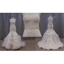 Vestido de noiva de sereia frisada sem encosto