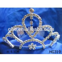 Rhinestone tiara boda nupcial corona corona tejido de tapicería boda nupcial tiara