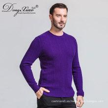 Pesado mens Royal purpel hecho a mano de punto jersey de lana con el precio inferior