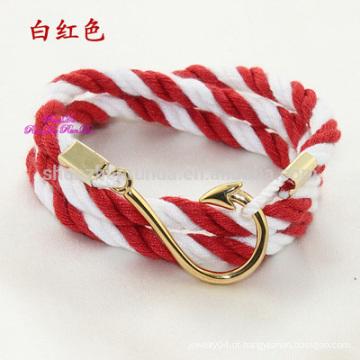 Atacado Moda Aço Inoxidável Gold Fish Hook Acessórios com Sailor Anchor Jóias Nautical Anchor Rope Bracelet Homens