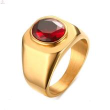 Neues Design-Edelstahl-Gold überzogener roter Cz Stein schellt Schmucksachen