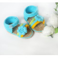 Aqua sandals handmade crochet girl shoes with flower