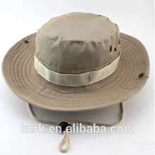 Atacado Camo Custom Bucket Hat Com Seqüência / Bucket Cap Com Cordas / Flat Bill Pesca Caps Chapéus