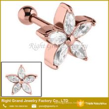Rose Gold PVD Surgical Steel 5 Petals Clear CZ Flower Design Ear Helix Tragus Cartilage