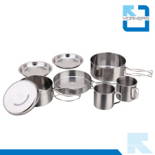 8 Pieces Cheap Stainless Steel Camping Kitchen Travel Cooking Set Camping Pot