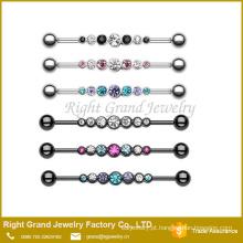 Strass aço inoxidável Industrial Barbell jóias