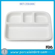 Bandeja de cena blanca de cerámica barata de Devided