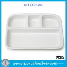 Plateau de repas en céramique blanc bon marché dévidé