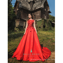Red dress evening gown full length party evening western dresses sleeveless long frock with rhinestones