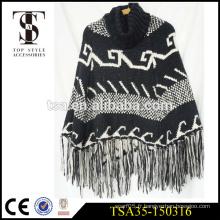 Châles tricotés à longue frise, écharpes noires et noires de marque, accessoires de style haut de gamme