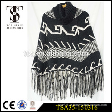 Longas franjas de malha xales preto e branco lenços de natal marca superior acessórios
