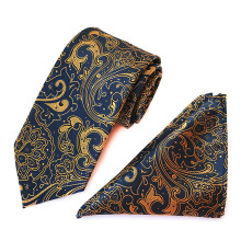 Yellow Paisley Polyester Mens Ties and Pocket Squares