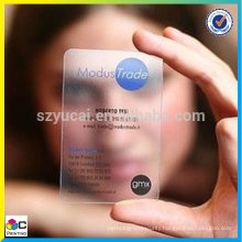 Varnishing transparent 2 sided business cards