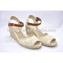 Designer Schuhe Sandalen atmungsaktive euramerican Keil Schuhe Spitze Stoff Fisch Mund Hanf Schuhe großen Yards Schuhe