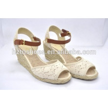 Designer shoes sandals breathable euramerican wedge shoes lace fabric fish mouth hemp shoes big yards shoes