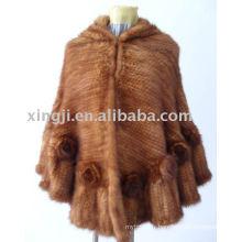 Fournisseur de la Chine poncho de fourrure de vison naturel