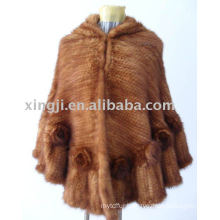 China supplier natural mink fur poncho