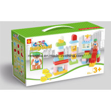 Brinquedo de crianças de blocos de construção de construção com caixa de janela