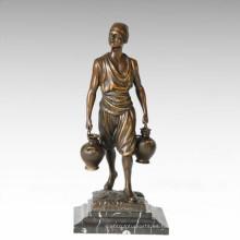Estatua de la vida oriental Hervidor de agua Farmer Figura de bronce Escultura TPE-392