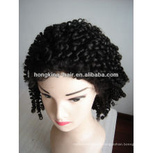 black color kinky curly silk top full lace wigs