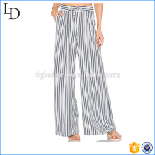 Elegant stripes chiffon casual loose wide leg pants for ladies