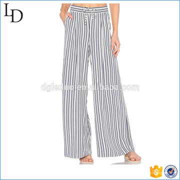 Listras elegantes chiffon casuais largas calças de pernas largas para senhoras
