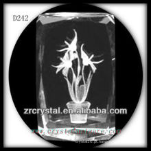 K9 linda flor 3d laser dentro do bloco de cristal