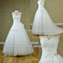 2014 Eleganter und großzügiger schlichter Stil mit Perlen-Tüll-Hochzeitskleid